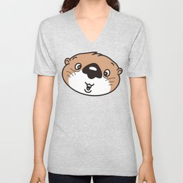 the face of the baby sea otter Unisex V-Neck