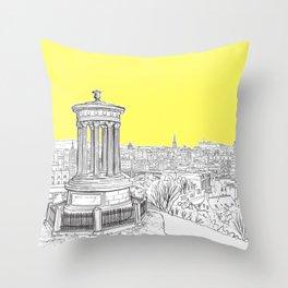 Overlooking Edinburgh (Illuminating Yellow Version) Throw Pillow