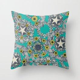 cirque fleur turquoise stone star Throw Pillow