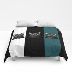 Three Black Cats with a White/Black/Green Background Comforters