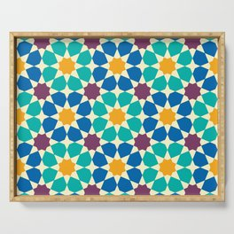 Moroccan pattern, Morocco. Patchwork mosaic with traditional folk geometric ornament Serving Tray