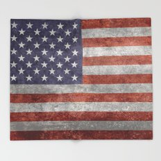The United States of America Flag, Authentic 10:19 G-spec Desaturated version Throw Blanket