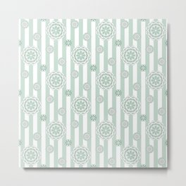 Mod Flowers in Sage Green and White Metal Print