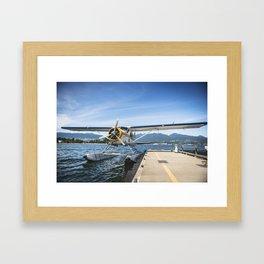 Seaplane on the lake Framed Art Print