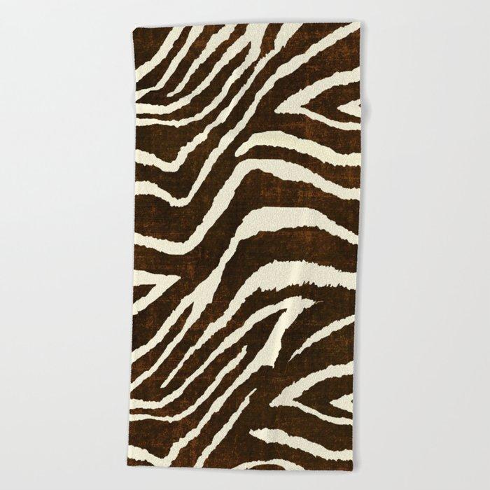 Animal Print Zebra In Winter Brown And Beige Beach Towel By Saundramyles Society6