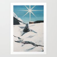 Landscape. Snow. Mountain. White. Sky. Art Print