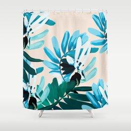 Big leaves blue Shower Curtain