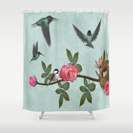 Hummingbird Family Shower Curtain