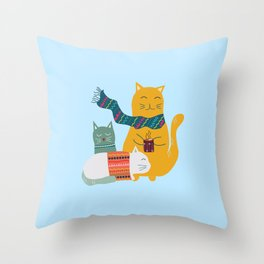 Cat cuddle -Hand Draw Throw Pillow
