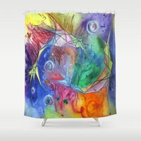 zodiac Shower Curtains featuring Zodiac simbol by Klepka
