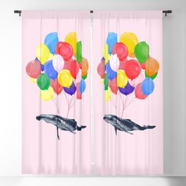 Flying Whale with Colourful balloons in Pink Blackout Curtain