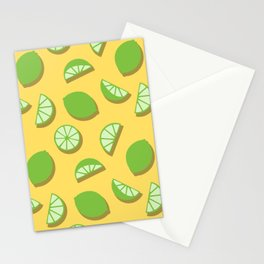 Green Lime Slice Pattern on Yellow Stationery Cards