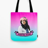 forever young Tote Bags featuring Forever Young by drmedusagrey