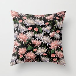 Coral + White Mums Throw Pillow