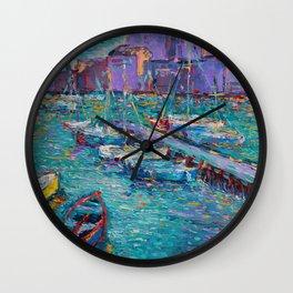 Fishing Boats of Giovinazzo - original modern palette knife sea landscape by Adriana Dziuba Wall Clock