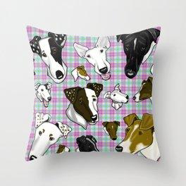 Smooth Fox Terrier- Pastel Plaids Throw Pillow