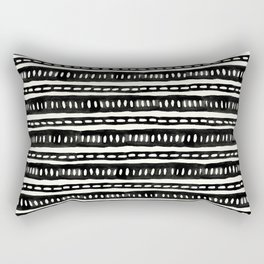 Black and White Boho Lines and Dots Handmade Mud Cloth Rectangular Pillow