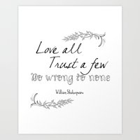 shakespeare Art Prints featuring Shakespeare Quote by Pati Designs & Photography