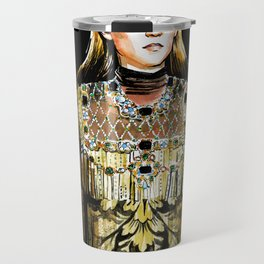 fashion 30: girl in golden dress with pearl Travel Mug