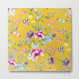 Yellow Chinese Floral Metal Print