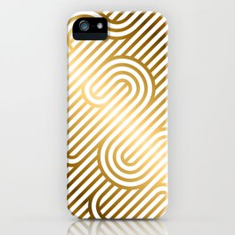 Art Deco Gold and White Geometric Ornate Pattern iPhone Case