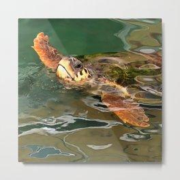 Hands Up For A Plastic Free Ocean Loggerhead Turtle Metal Print