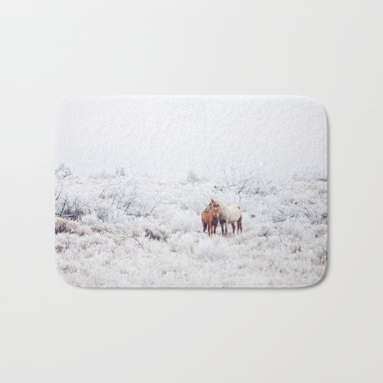Two Winter Horses Bath Mat