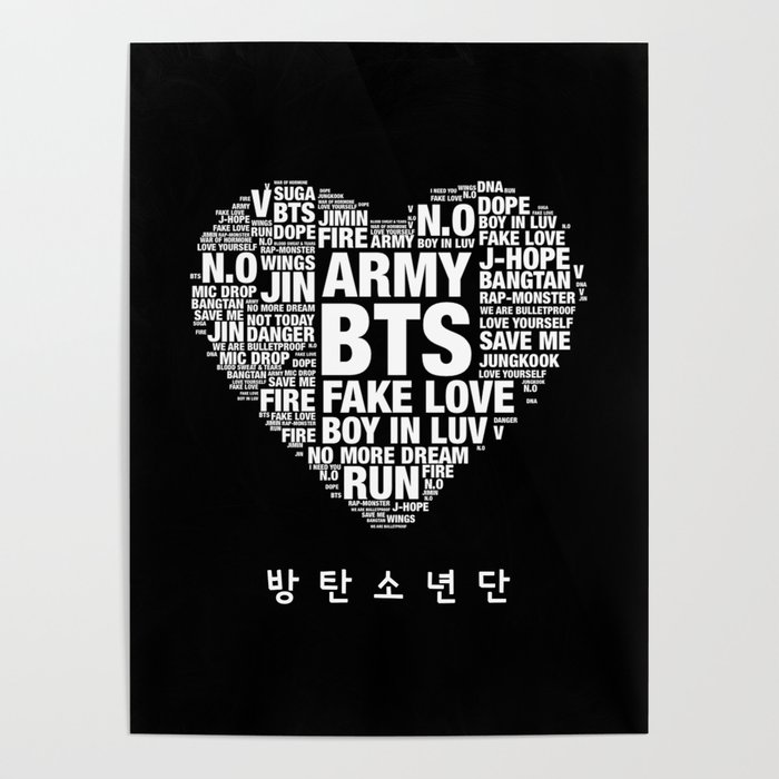 Bts Army Fan Art Typography Poster By Louche And Lovely