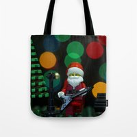 concert Tote Bags featuring Santa's Concert by Pedro Nogueira