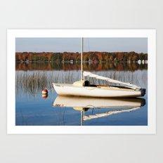 Sailboat on Quiet Lake in Autumn Art Print