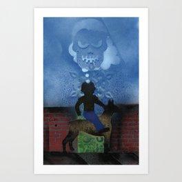 Boy Rides Dog Art Print