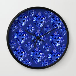FACETED BLUE ON BLUE SAPPHIRE GEMSTONES Wall Clock