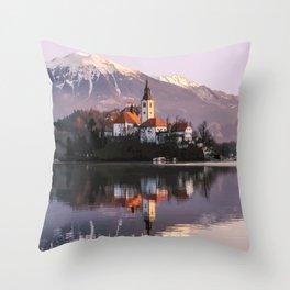 Lake Bled, Slovenia Artwork Throw Pillow