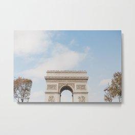 Arc de Triomph in Autumn   Paris travel photography   Bright and beautiful art print Metal Print