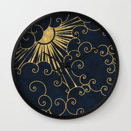 The Sun Always Shines Behind The Clouds (blue background) Wall Clock