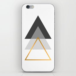 Triangles art, Black, white and gold iPhone Skin