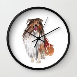 watercolor dog vol1 collie Wall Clock