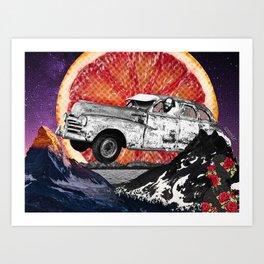 Allen Ginsberg Car Flying Over Blood Moon Art Print