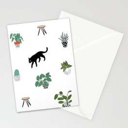 cats and pots pattern Stationery Cards