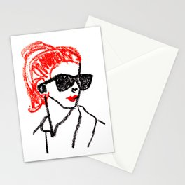 sunglasses and red hair Stationery Cards