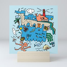 Sea Doodle World Animals by Pablo Rodriguez (Pabzoide) Mini Art Print
