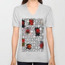 poppy love in puzzle design Unisex V-Neck