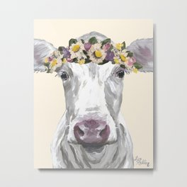 Cow With Flower Crown, Cute Cow Up Close Metal Print