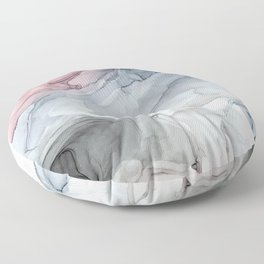 Pastel Blush, Grey and Blue Ink Clouds Painting Floor Pillow