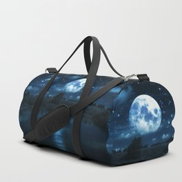 Rural forest near a river night landscape with full moon Duffle Bag