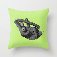 newspaper Throw Pillows featuring Newspaper Sloths by Doolin