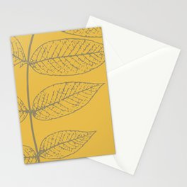 Autumn Leaves, Warm Gray on Yellow (Set of 3) Stationery Cards