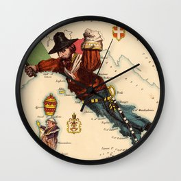 Vintage Illustrative Map of Italy (1869) Wall Clock