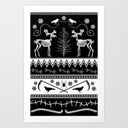 something to crow about ugly holiday sweater Art Print