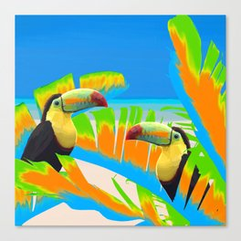 Colorful Toucans Tropical Banana Leaves Pattern Canvas Print
